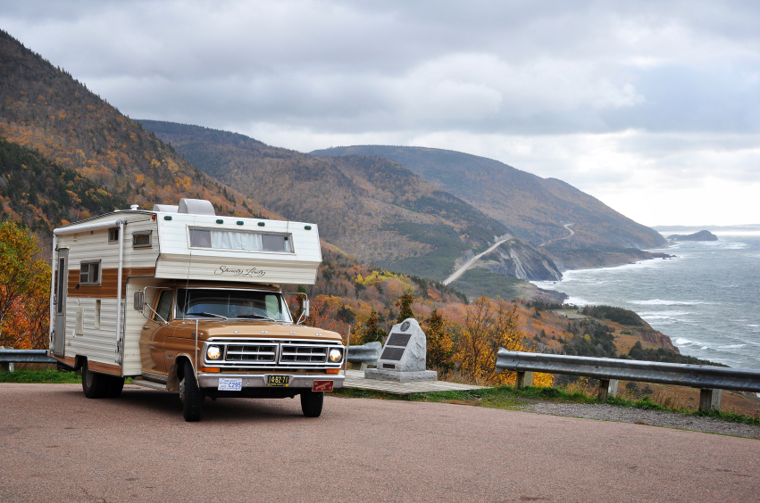 A vintage 1970s Ford motor home parked alongside Nova Scotia's Cabot Trail.