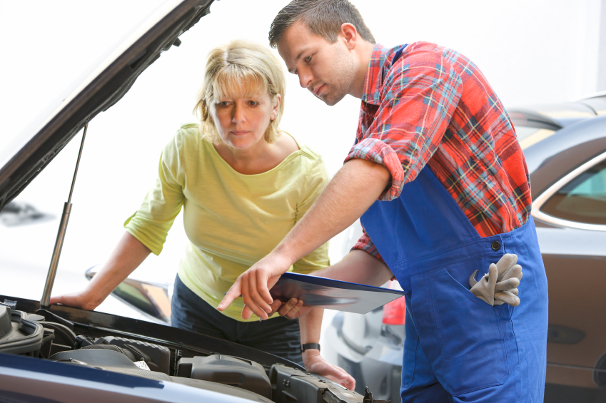 An auto service advisor needs to explain the technical aspects of a service to the customers.
