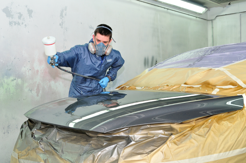 High efficiency paint guns produce less waste and help auto body technicians reduce pollution