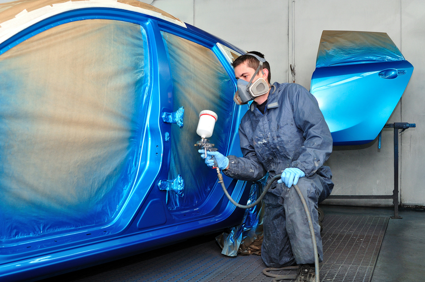 Student in auto body training