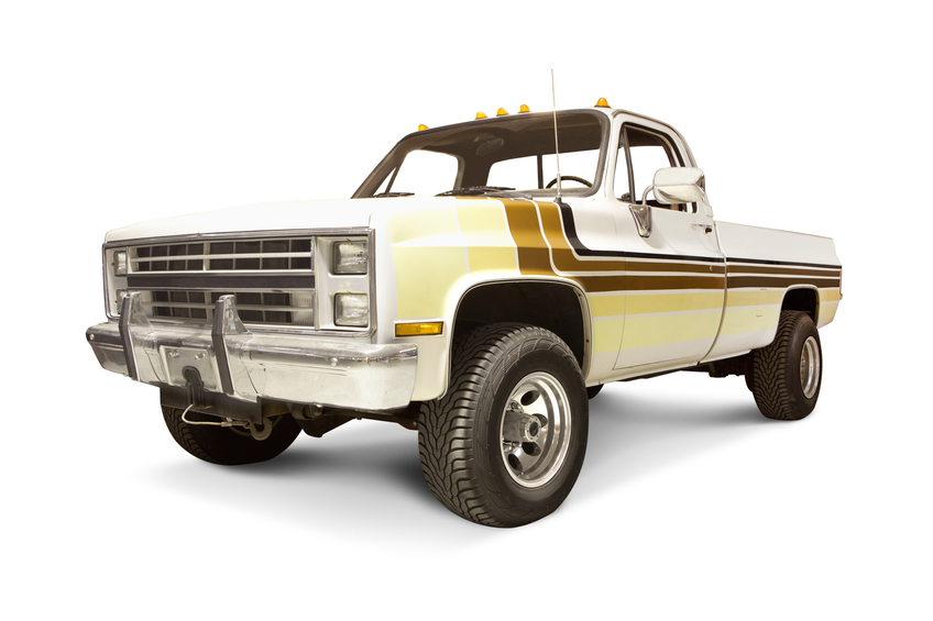 Old Chevrolet pick-up trucks have a high chance of getting hit and turning into fireballs