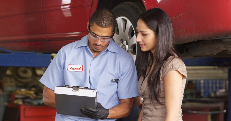 Auto mechanic and customer