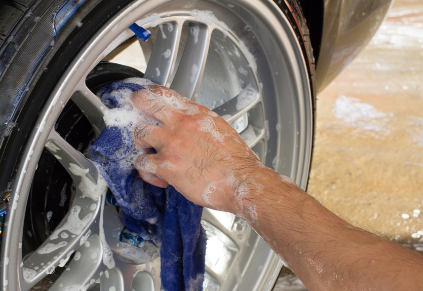 When auto detailing rims and tires, check how worn the tires are and advise your client