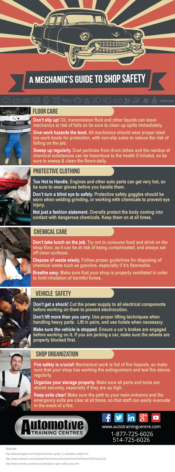 Infographic: A Mechanic's Guide to Shop Safety, auto repair safety rules, car safety, home safety, workplace safety, safety at work, vehicle safety