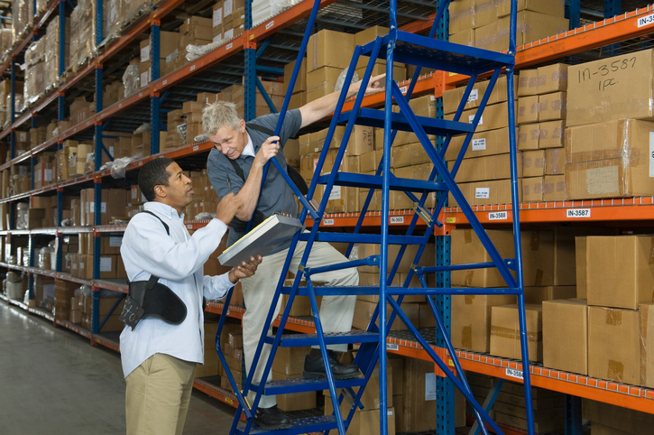 Follow good safety practices when you need to work up high in warehouses