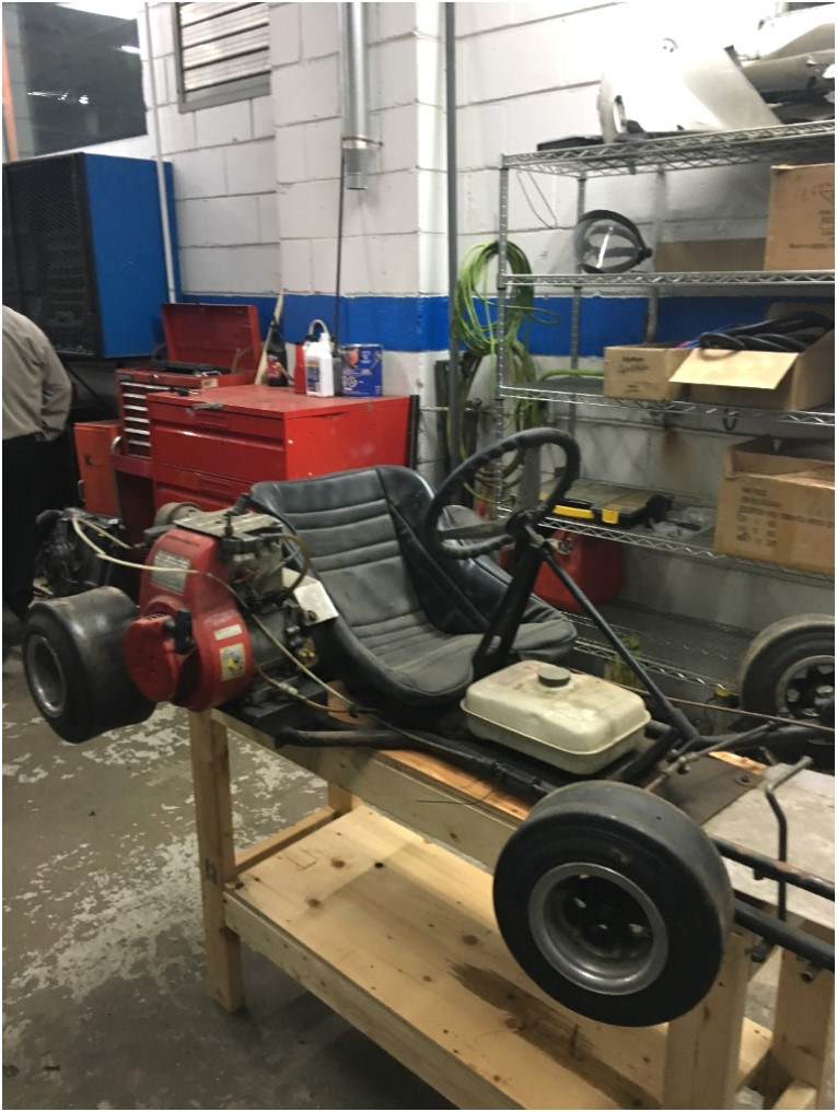 Our 1980s Tomcat go-kart prior to being restored
