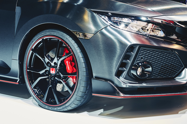 Fierce red accents abound in the Honda Civic Type R's interior and exterior