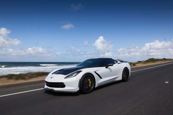 Earlier models of the Corvette, like this one, are celebrated with the new Carbon 65 package