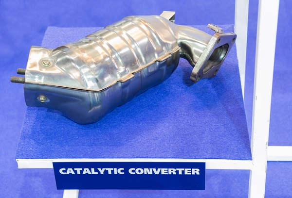 The catalytic converter helps reduce harmful emissions
