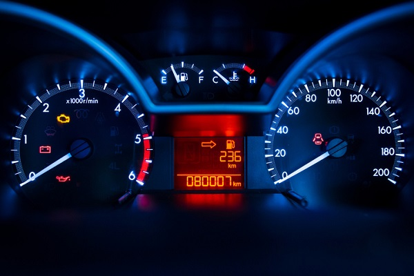 Some newer vehicles display the kilometres left, but drivers should be cautious