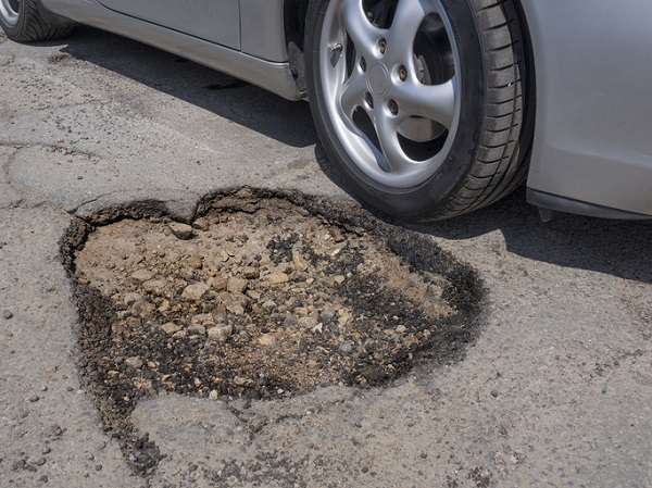 Drivers must be careful to avoid potholes as they can damage tires