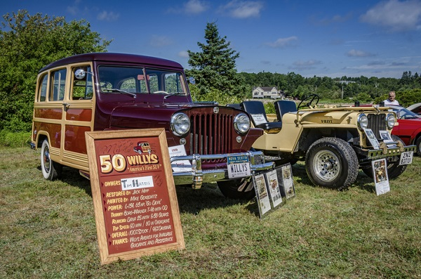 You can find a lot of woodies—like this 1950 Willys Wagon—at vintage car shows