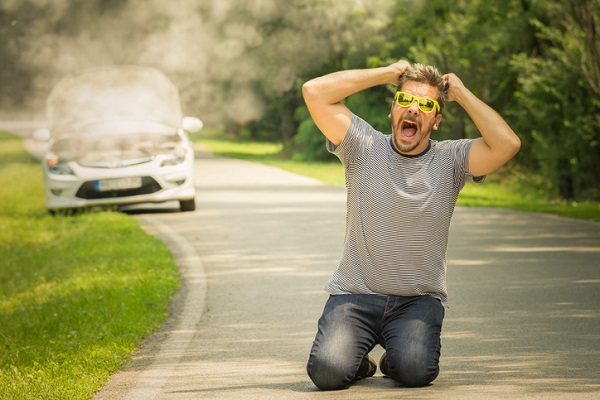 If smoke is rising from the hood, a mechanic can help customers avoid feeling like this