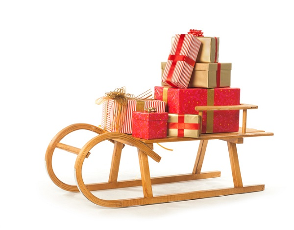 A simple wooden toboggan formed the base for the Grinch's sleigh in the grouchy family classic