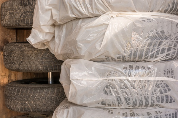 Storing tires in plastic bags can help prevent the rubber's oils from evaporating