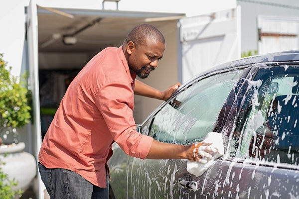 Try to avoid cleaning your car on a hot day as the water will evaporate and leave marks